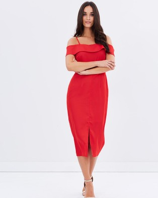 3rd Love – Subtle Off Shoulder Pencil Dress – Dresses (Red)
