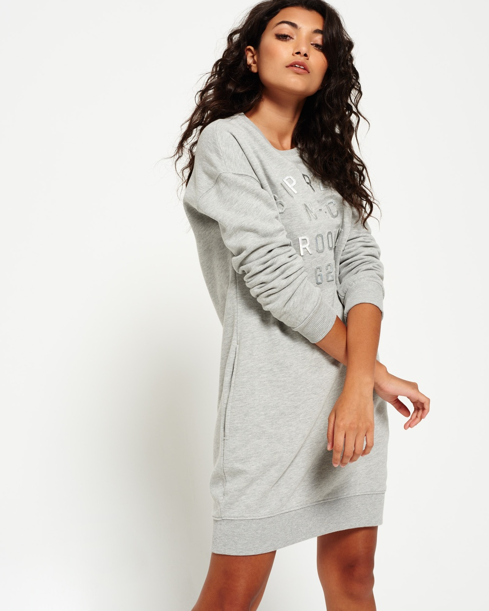 Superdry Graphic Sweat Dress Dresses Sport Code Grey Grit Graphic Sweat Dress
