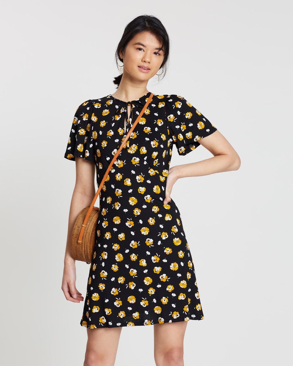 Miss Selfridge Black Ditsy Tie Tea Pansy Dress