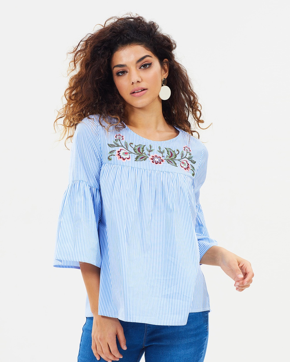DP Petite Stripe Embroidered Yoke Top Tops Chambray Stripe Embroidered Yoke Top