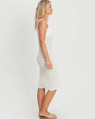 The Fated Louna Midi Dress - Bodycon Dresses (White and Neutral Stripe)