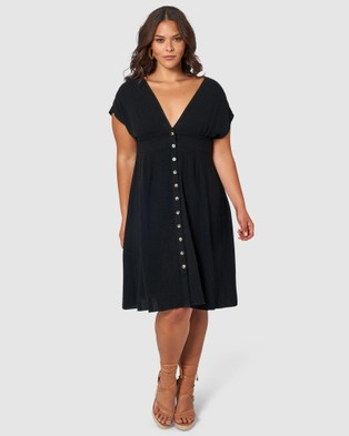 Something 4 Olivia Bria Linen Midi Dress - Dresses (Black)