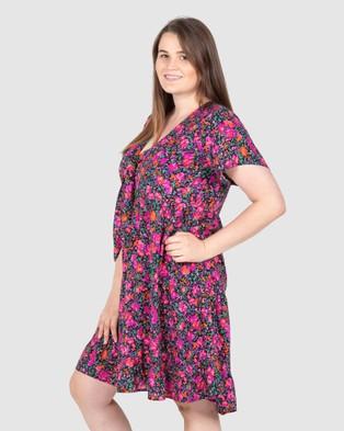 Love Your Wardrobe - Tegan Tiered  Print Dress - Printed Dresses (Rose Floral) Tegan Tiered  Print Dress
