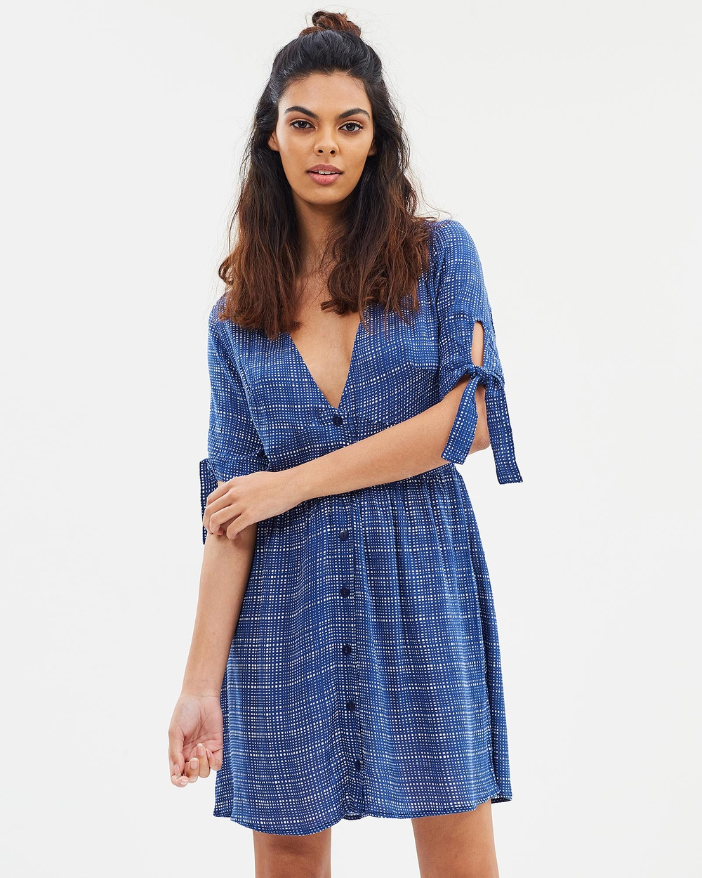 Lilya Ida Mini Dress Dresses Navy Check Ida Mini Dress
