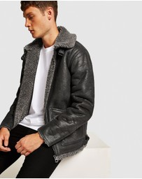 Topman - Overdyed Faux Shearling Jacket
