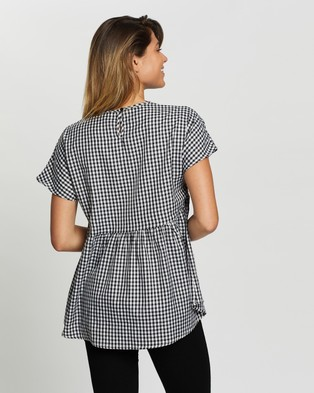 Atmos&Here Hailey Cotton Top - Tops (Black Gingham)