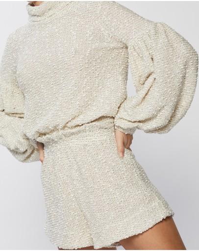 Shona Joy Aimee Cowl Neck Balloon Sleeve Jumper Cream