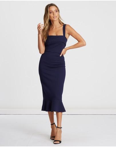 Calli Reese Frill Midi Dress Navy