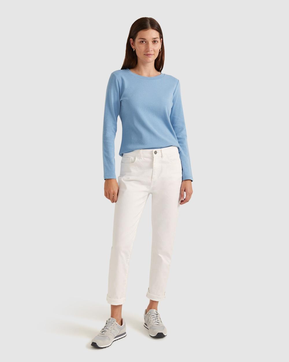 Sportscraft - Organic Cotton Long Sleeve Tee - Tops (Blue) Organic Cotton Long Sleeve Tee