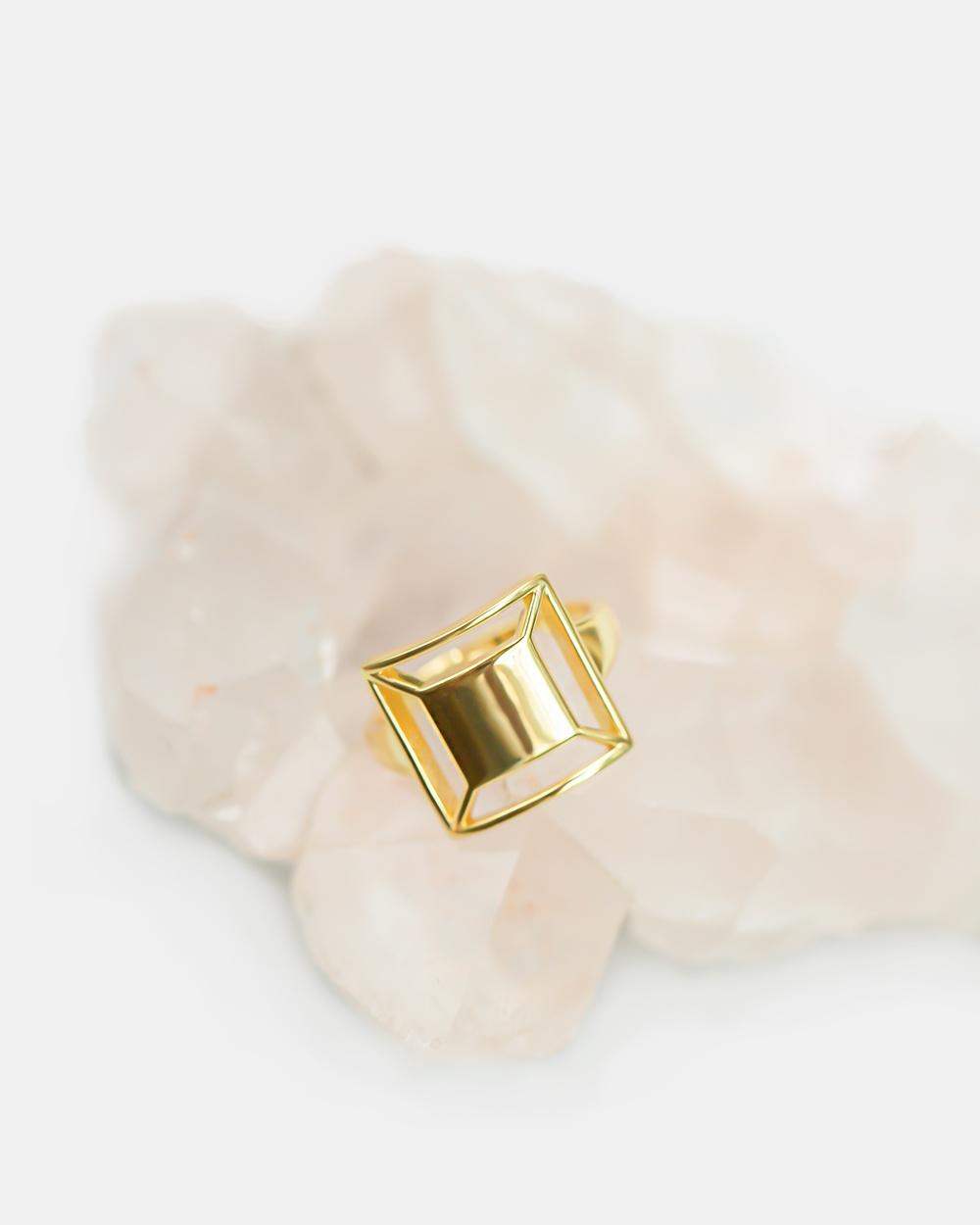 CA Jewellery Deco Square Ring Gold gold
