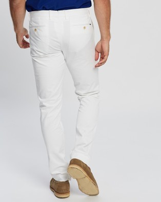 Polo Ralph Lauren Stretch Slim Fit Flat Front Chino Pants - Pants (White)