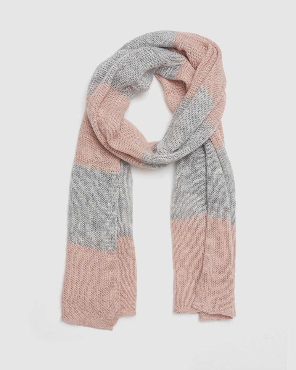 Kate & Confusion Blocked Stripe Scarf Scarves Gloves Pink