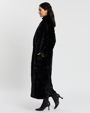 Unreal Fur Black Bird Coat - Coats & Jackets (Black)