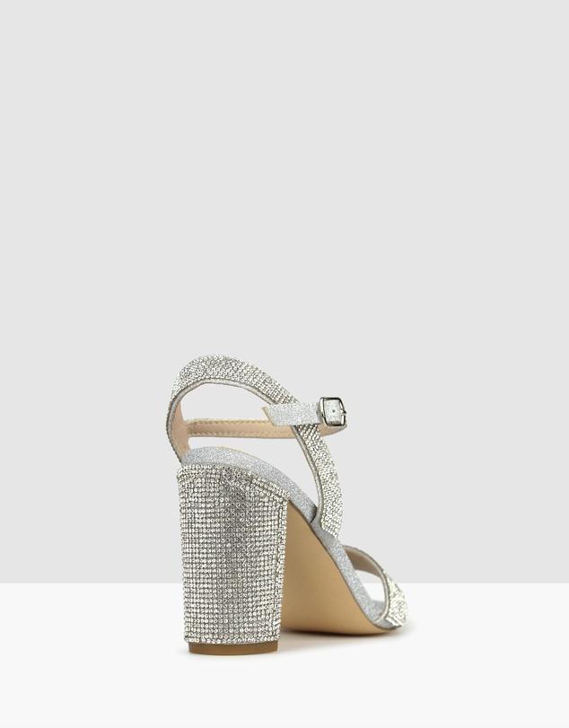 Women Sherbet Diamante Block Heel Sandals