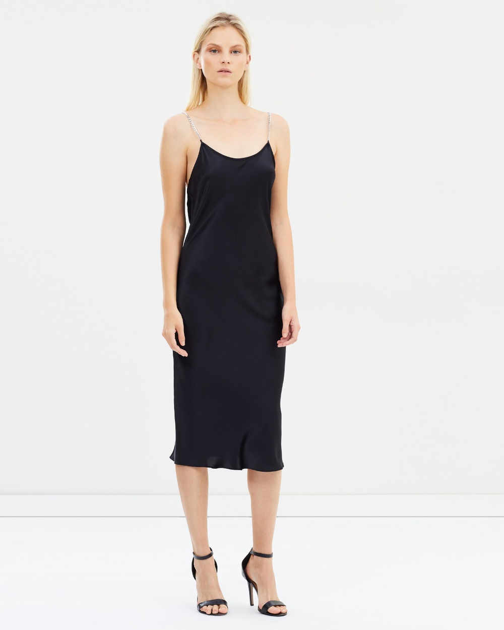Michael Lo Sordo Bias Chain Slip Dress Dresses Black Bias Chain Slip Dress