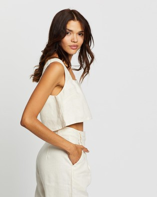 AERE Linen Relaxed Crop - Cropped tops (Sand)