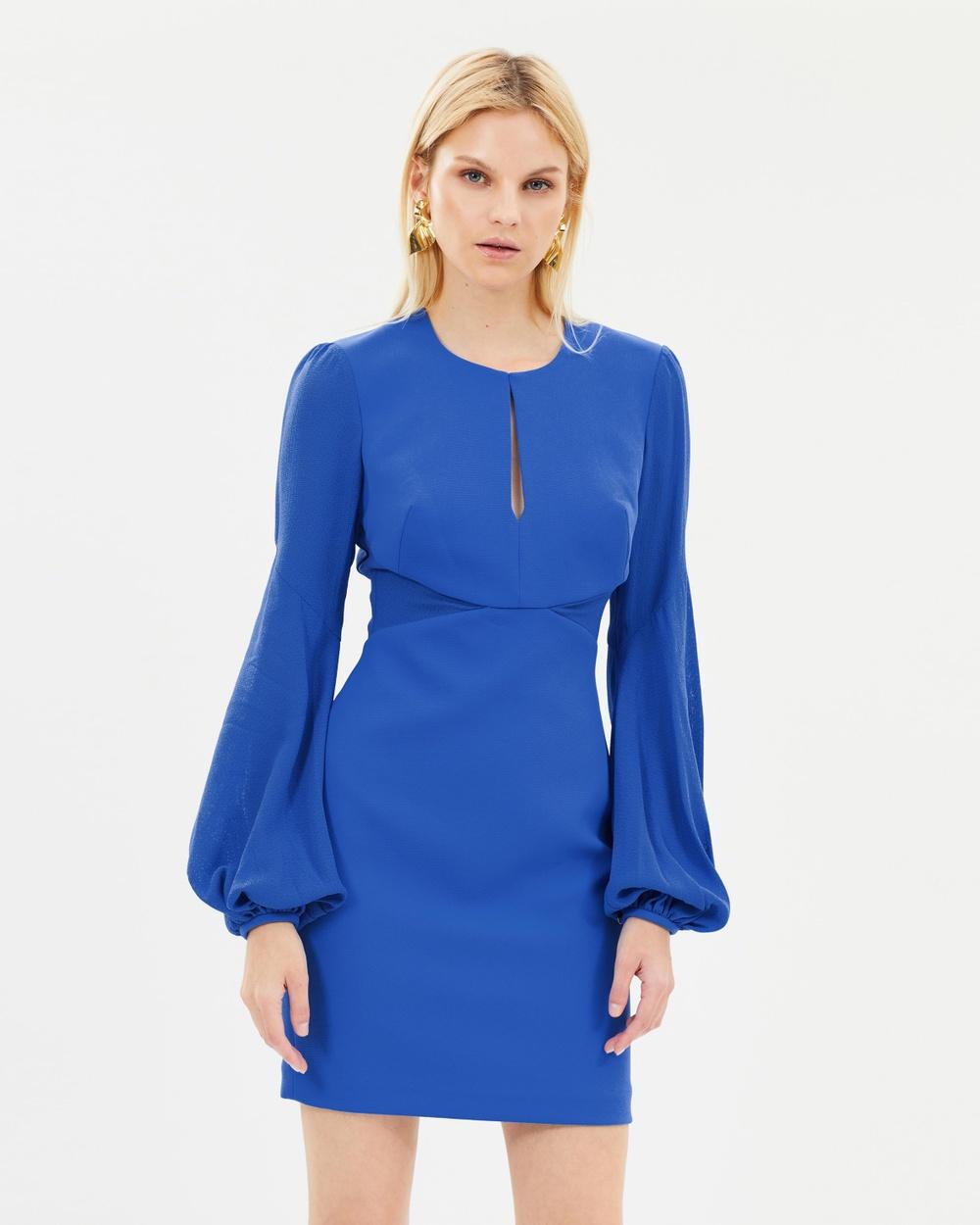 Rebecca Vallance Cobalt Delphine Long Sleeve Mini