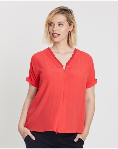 Bump Love Maternity Lucy Lace Tee Flame