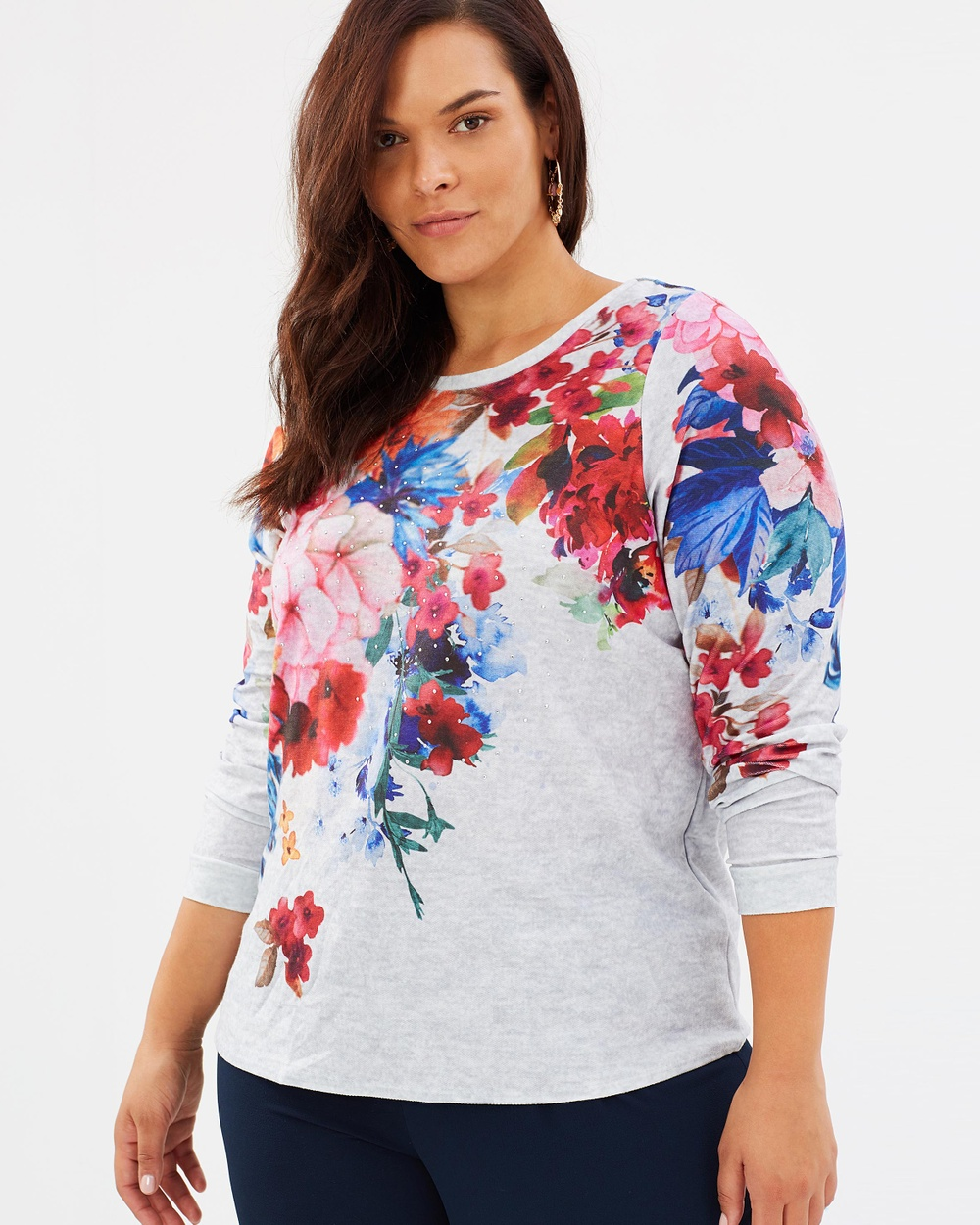 EVANS Floral Neckline Sweat Top Tops Grey Floral Neckline Sweat Top