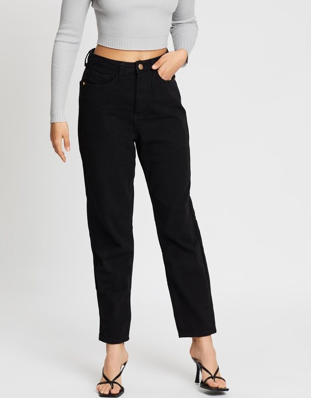 Missguided Petite - Petite Riot Gold Button Mom Jean