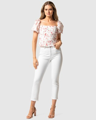 Forever New - Linda Square Neck Puff Sleeve Top - Tops (Savannah Floral) Linda Square Neck Puff Sleeve Top
