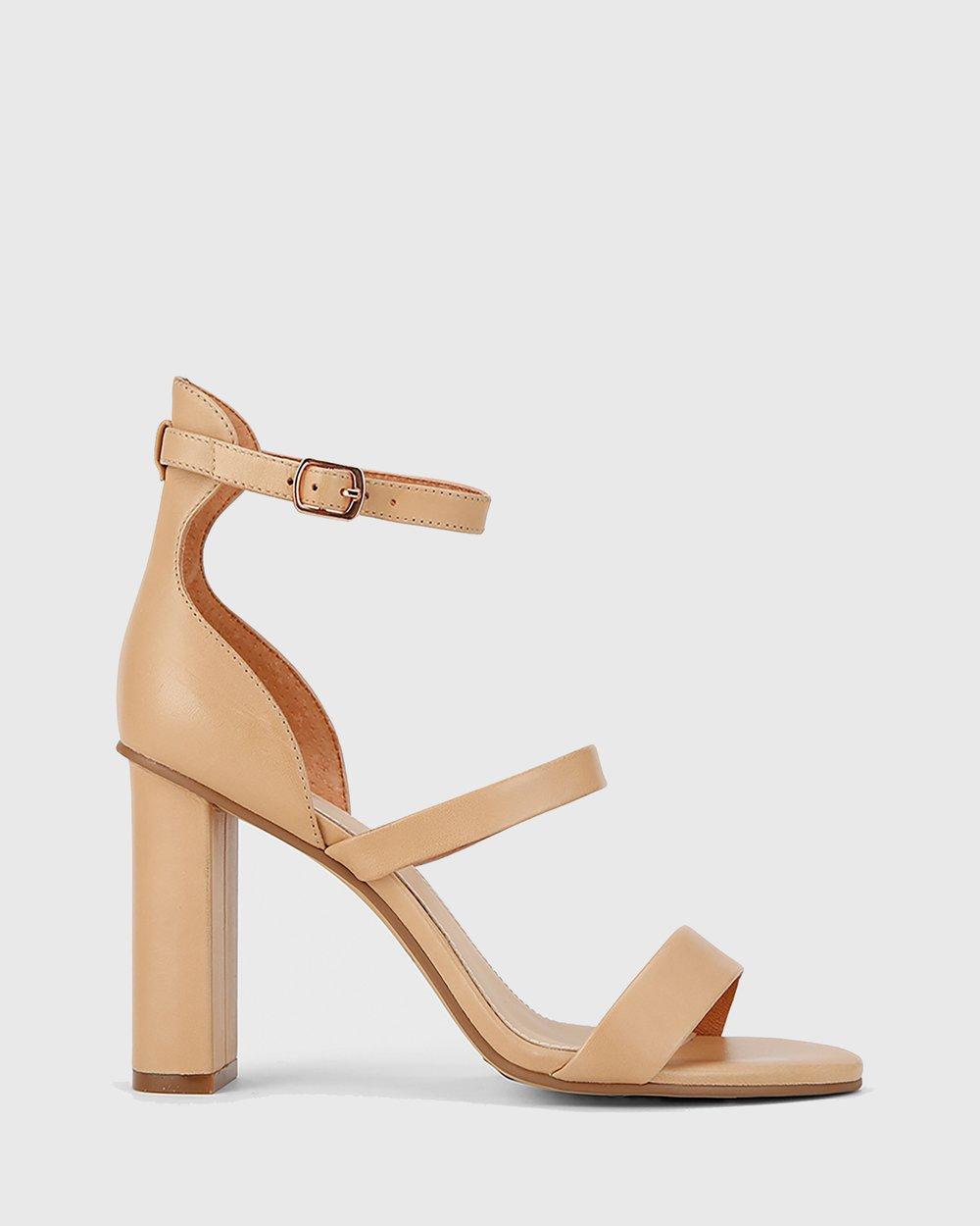 7c28177a956 Rivera Three Strap Block Heel Sandals by Wittner Online