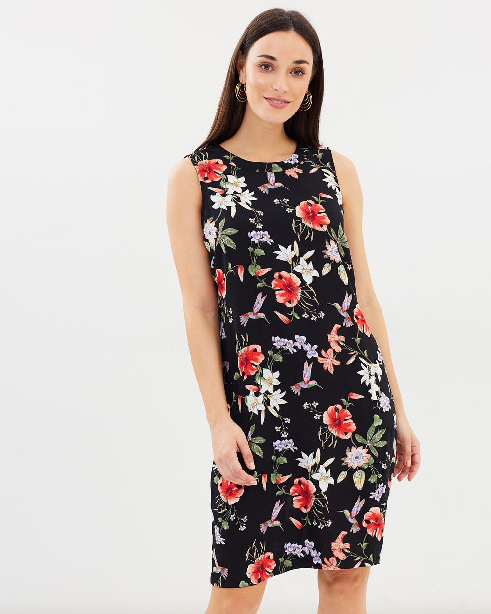 Wallis Hummingbird Oriental Pinafore Dress Printed Dresses Black Hummingbird Oriental Pinafore Dress