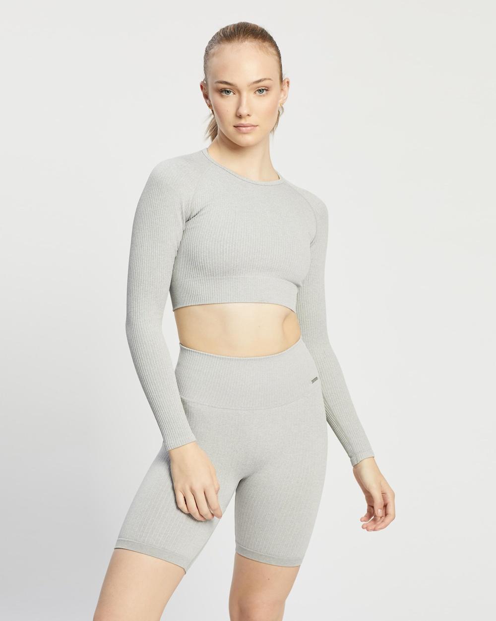 Aim'n Ribbed Seamless Crop Long Sleeve Top T-Shirts Light Grey Melange Australia