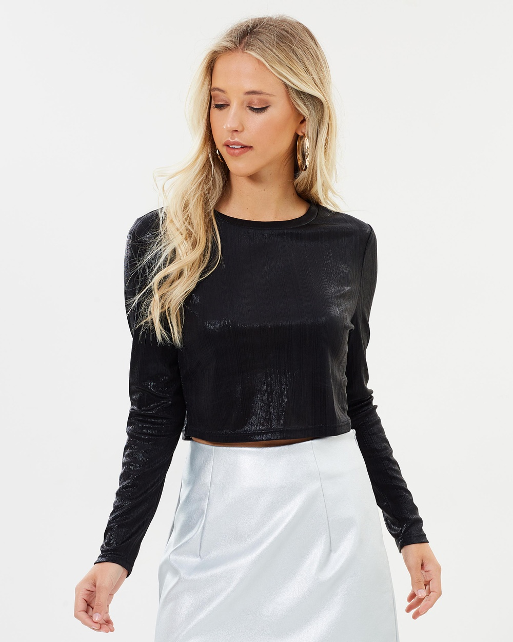 Dazie Tabia Fitted Knit Top Cropped tops Metallic Black Tabia Fitted Knit Top