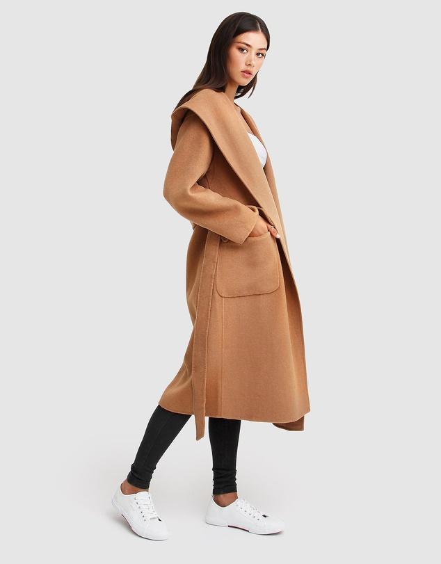 Women Runaway Wool Blend Robe Coat