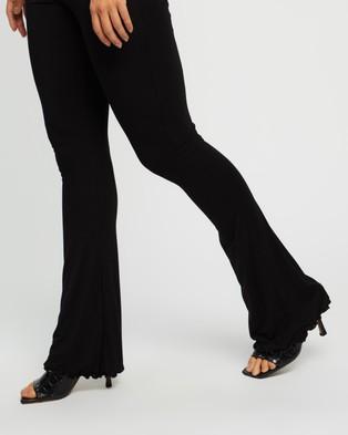 Missguided Co Ord Flare Lettuce Hem Trousers - Pants (Black)