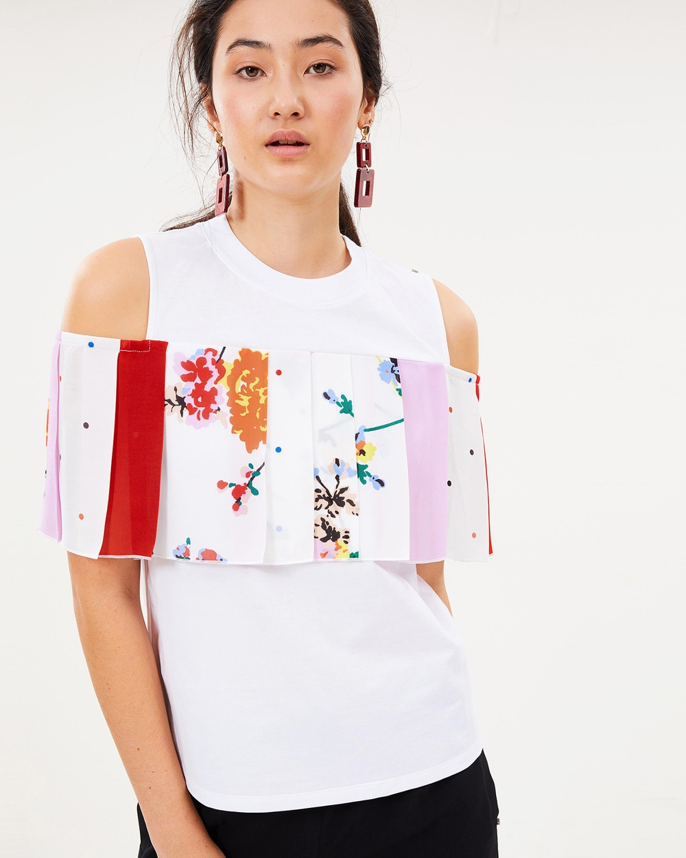 Sportmax Code Anemone Top Tops Optical White Anemone Top
