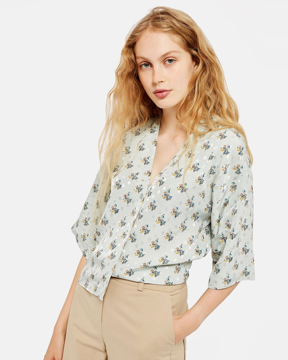 TOPSHOP Tilly Tie Sleeve Blouse Tops Light Green Tilly Tie Sleeve Blouse