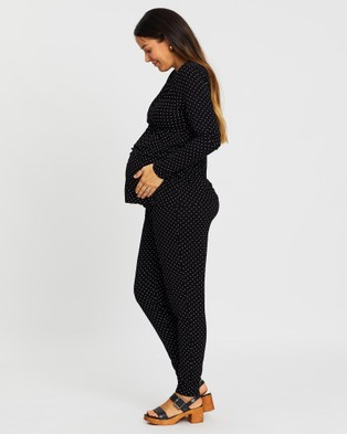 Angel Maternity V Neck Top & Lounge Pants Sleep Set Two-piece sets Black Spots V-Neck