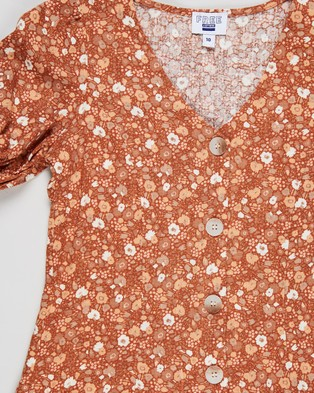 Free by Cotton On Luna Short Sleeve Dress   Teens - Printed Dresses (Roasted Almond & Abstract Ditsy)