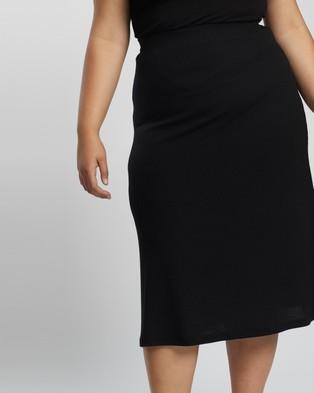 Atmos&Here Curvy Sadie Knit Skirt - Skirts (Black)