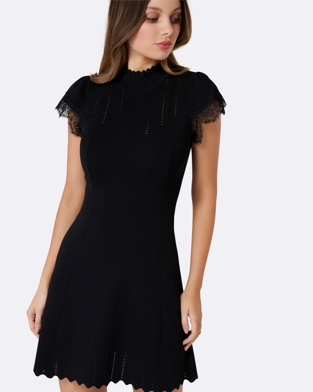 Forever New Hazel Lace Sleeve Dress Dresses Black Hazel Lace Sleeve Dress