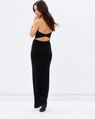 SKIVA Strapless Evening Dress with Split - Dresses (Black)