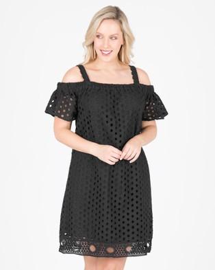 Love Your Wardrobe – Show Me Some Shoulder Eyelet Dress Black