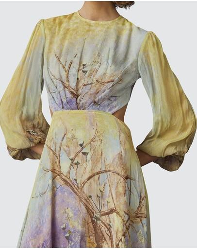 Leo & Lin Salvation Silk Chiffon Dress Yellow