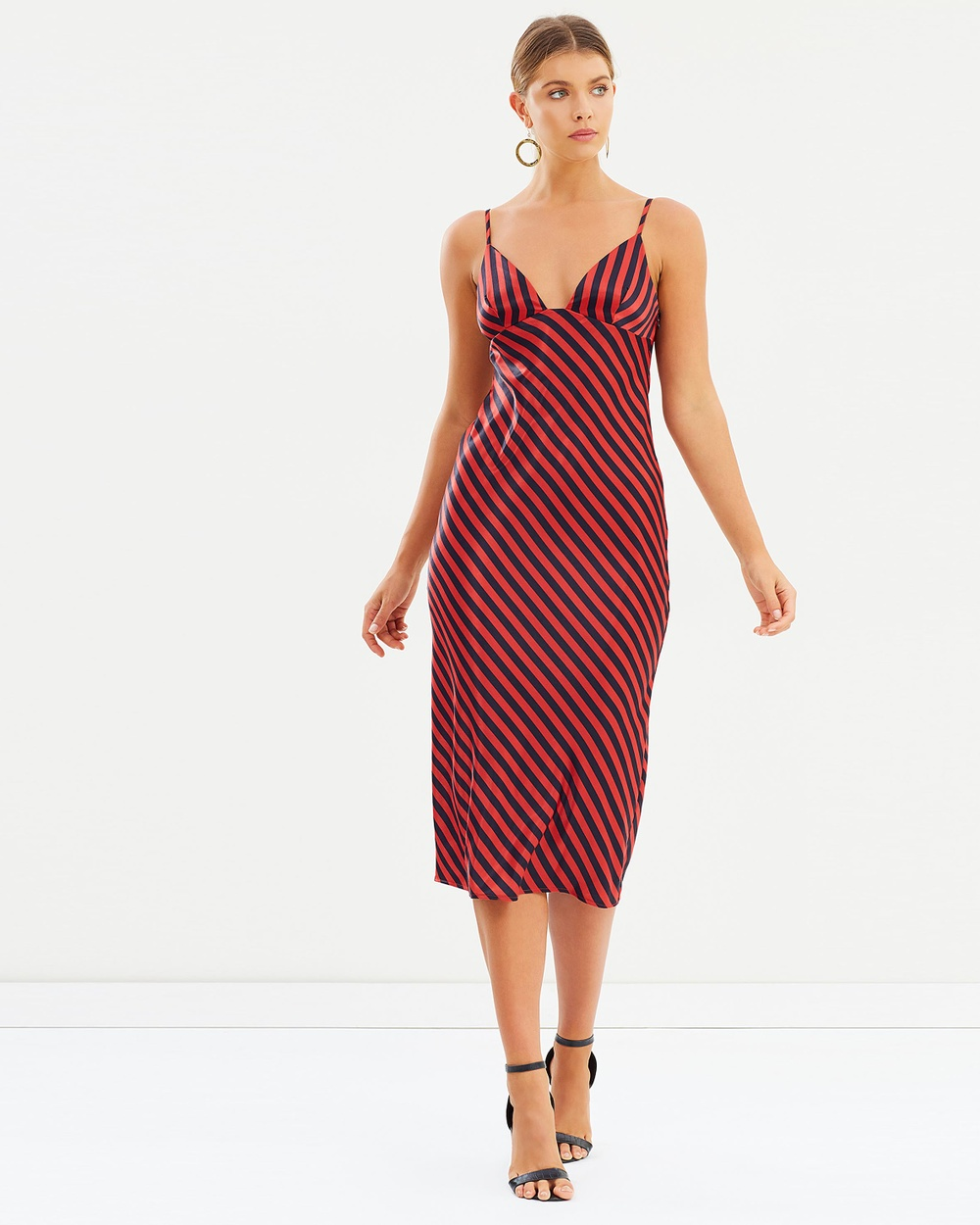 Shona Joy Bias Slip Midi Dresses Navy & Red Bias Slip Midi
