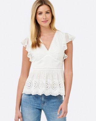 Forever New – Heather Pin Tuck Frill Sleeve Top White