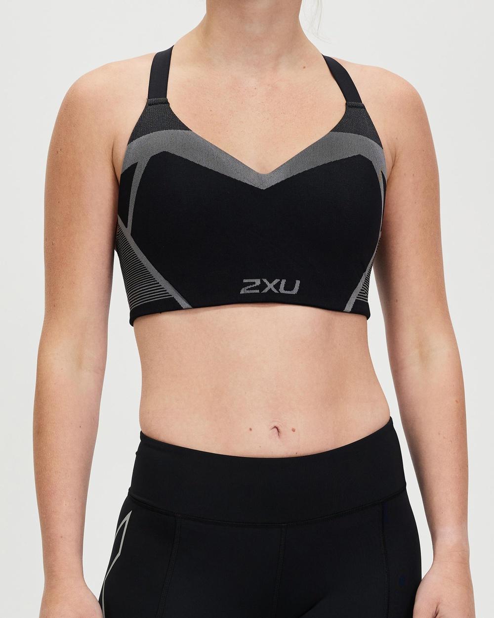2XU Motion Tech Bra Crop Tops Black & Turbulence