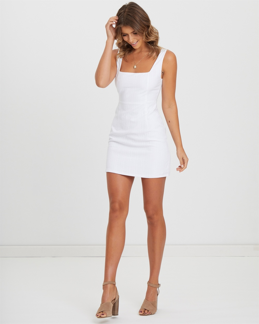 Photo of Atmos & Here White Square Neckline Textured Cotton Mini - beautiful dress from Atmos & Here online