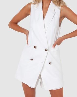 Madison The Label Charlotte Vest - Blazers (White)