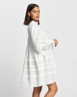 AERE Pleat Detail Linen Smock Dress - Dresses (Ivory)