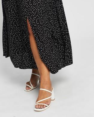 Atmos&Here Curvy Domanique Midi Skirt - Skirts (Black White Polkadot)