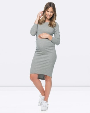 BAE the Label – Shadow Sounds Long Sleeved Dress – Dresses (Grey Marle)