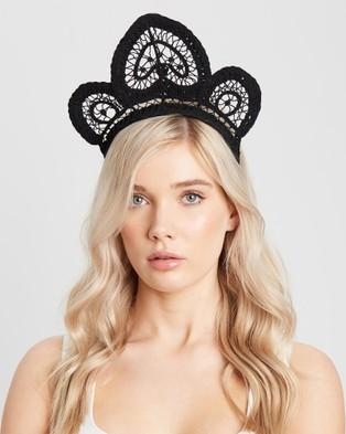 Heather McDowall Meghan Lace Crown - Fascinators (Black)
