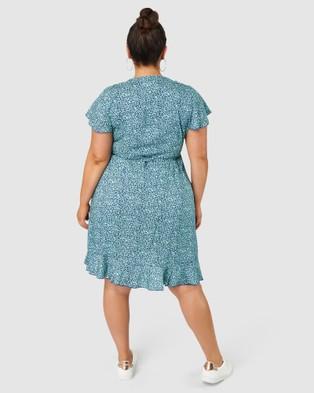 Indigo Tonic Parker Wrap Print  Midi Dress - Printed Dresses (Blue)